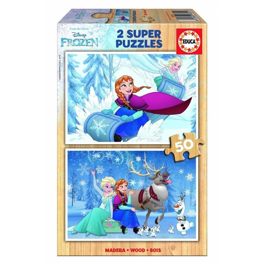 HOUT: Frozen - 2 puzzels van 50 stukjes-1