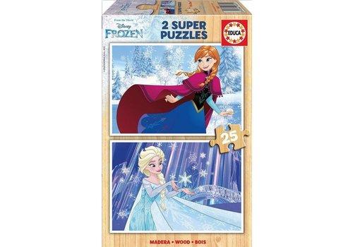 Educa BOIS: Frozen - 2 x 25 pièces