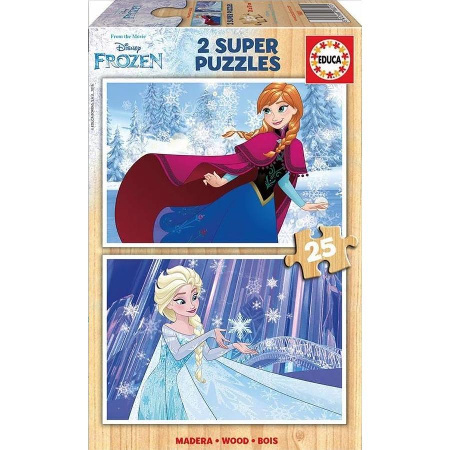 HOUT: Frozen - 2 puzzels van 25 stukjes-1