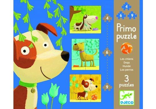 3 puzzels van hondjes - 4, 6 en 9 stukjes