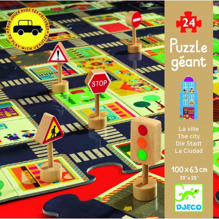 Bouw zelf je stad - puzzel van 24 stukjes en 5 verkeersborden-1