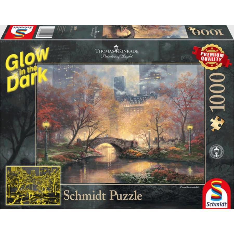 Central Park - Glow in the Dark - Thomas Kinkade - puzzel van 1000 stukjes-1