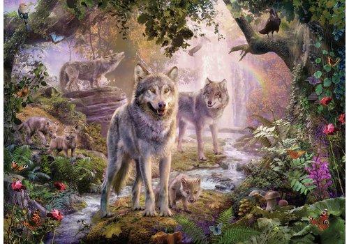 Famille de loups en été - 1000 pièces