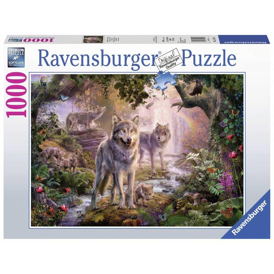 Wolvenfamilie in de zomer - legpuzzel van 1000 stukjes-2