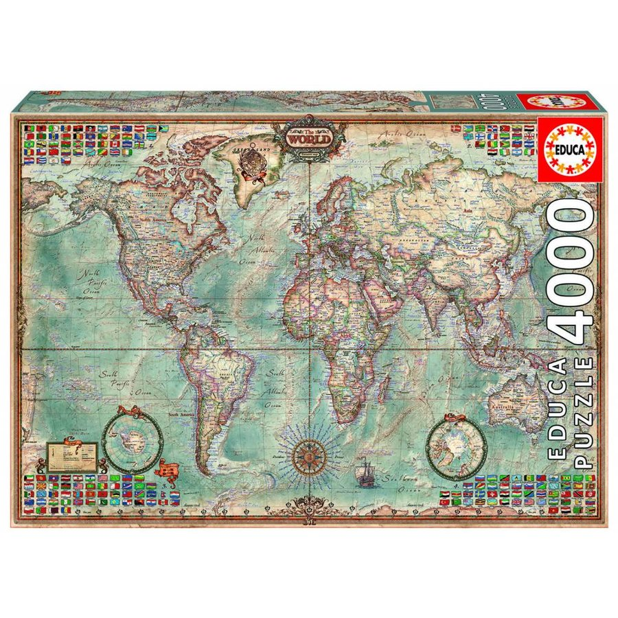 Educa Large World Map 4000 Pieces Puzzles123