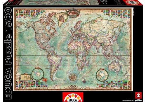 Educa Carte du monde - 1500 pièces