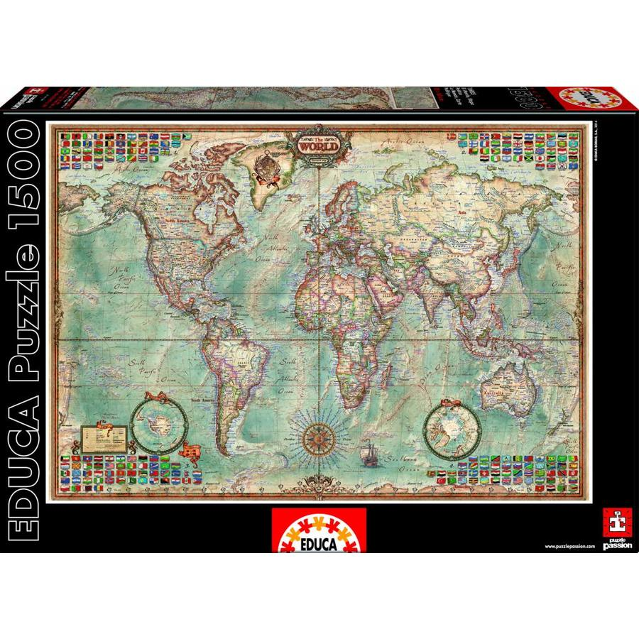 Wereldkaart - puzzel van 1500 stukjes-1