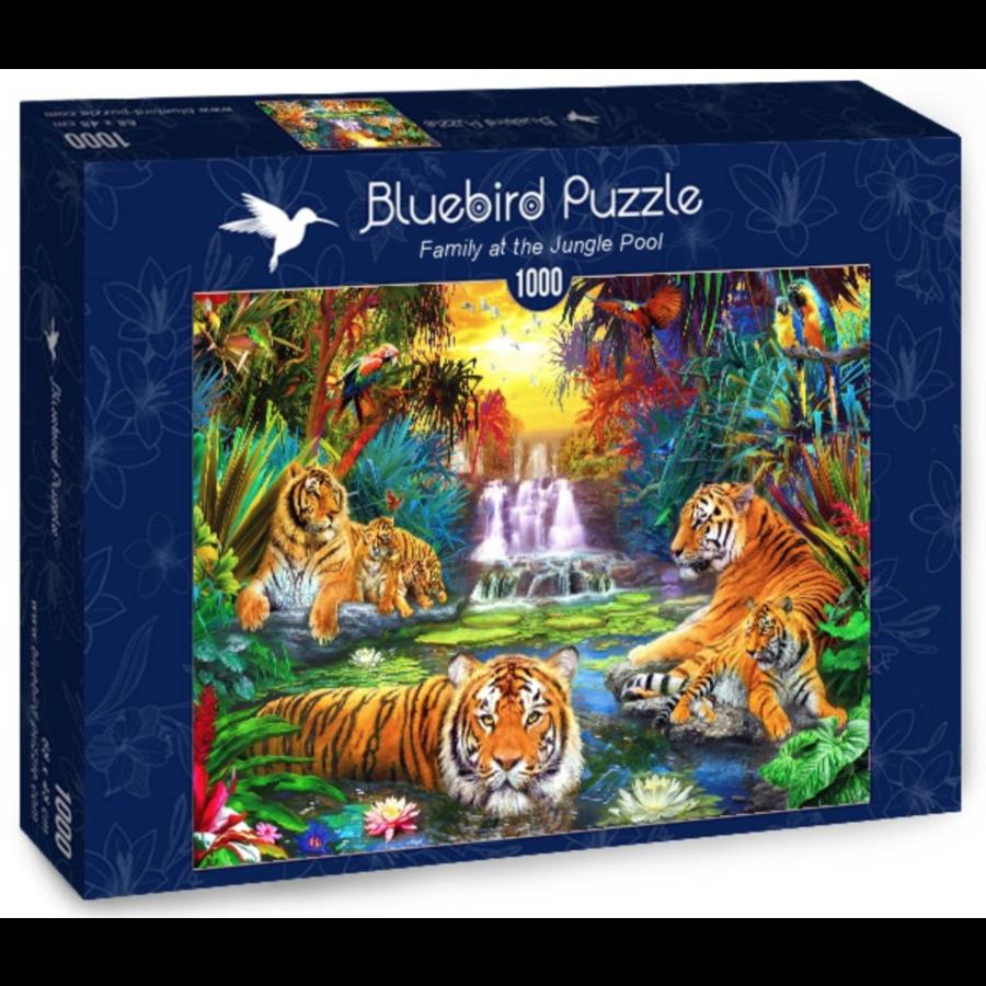 Tijgerfamilie in de jungle  - puzzel van 1000 stukjes-2