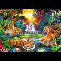 thumb-Tijgerfamilie in de jungle  - puzzel van 1000 stukjes-1