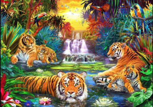 Famille de tigres dans la jungle  - 1000 pièces