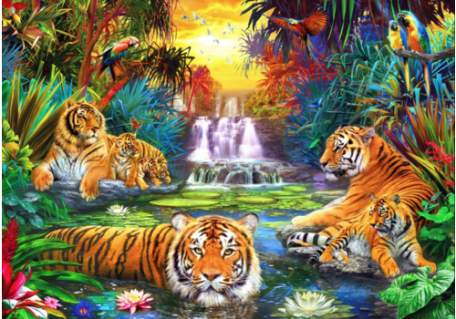Bluebird Puzzle Tijgerfamilie in de jungle  - 1000 stukjes