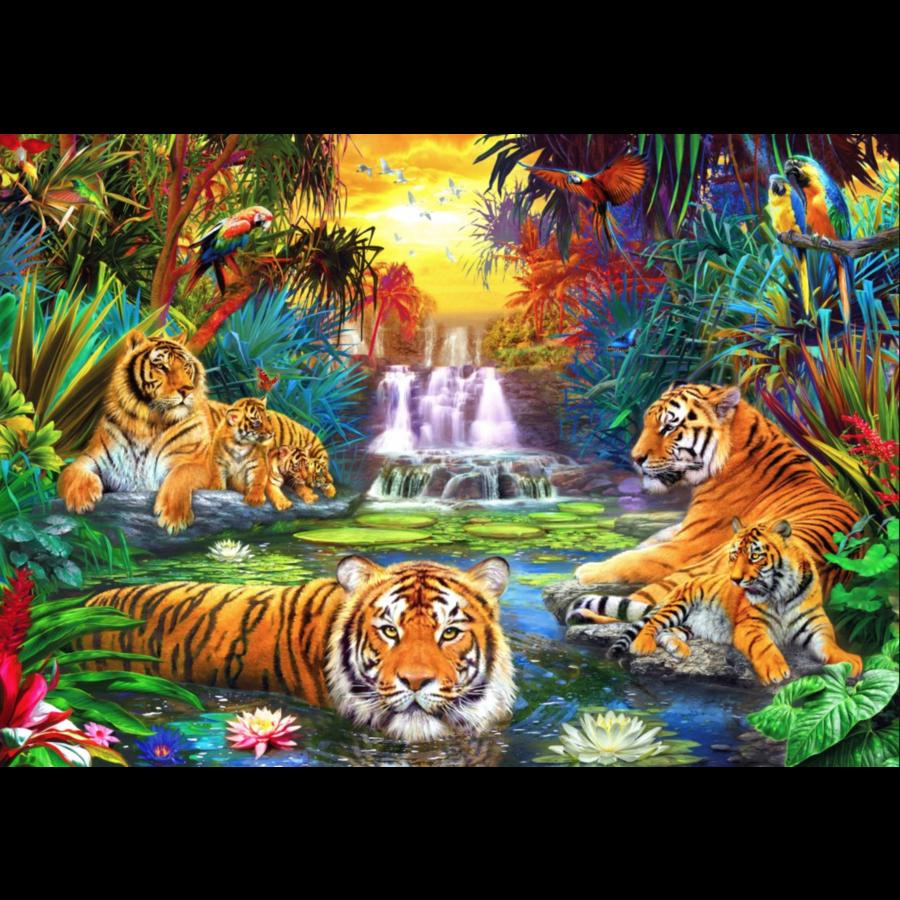 Tijgerfamilie in de jungle  - puzzel van 1000 stukjes-1