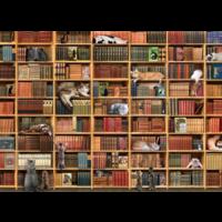 thumb-La bibliothèque des chats - puzzle de 1000 pièces-1