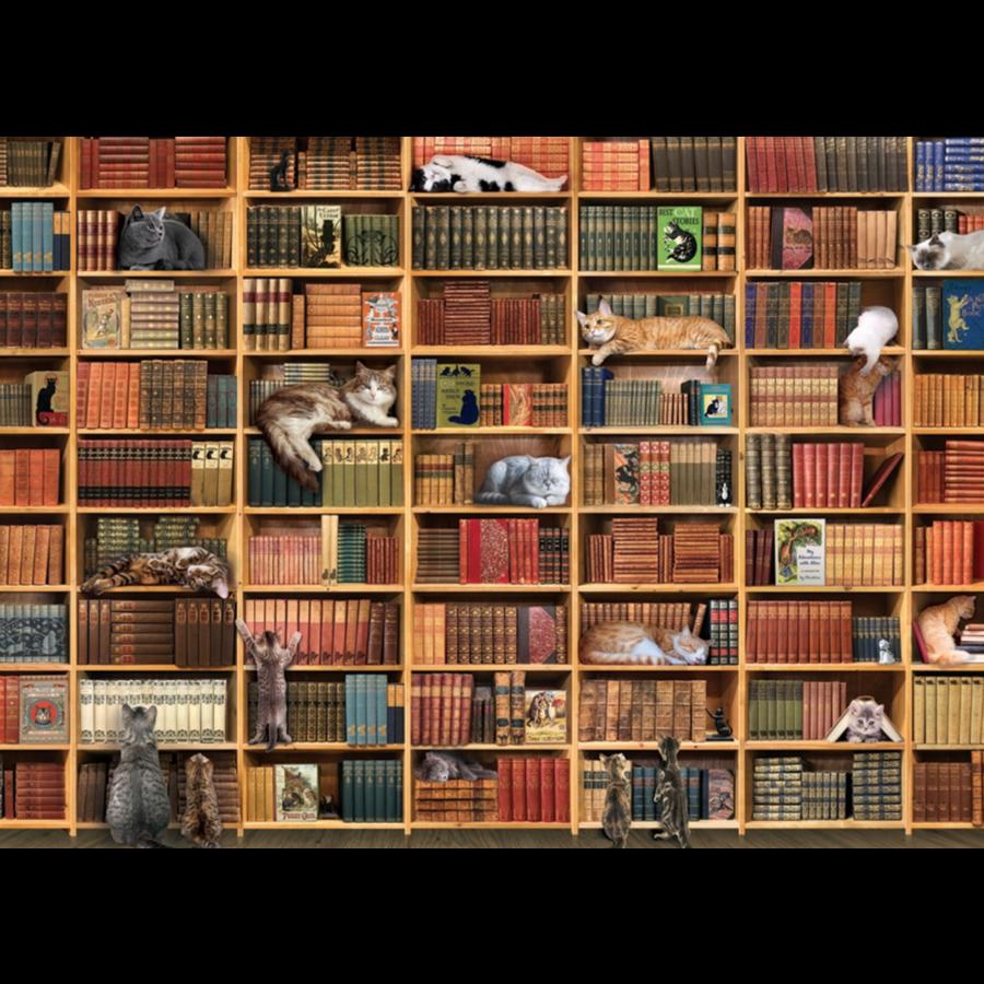 La bibliothèque des chats - puzzle de 1000 pièces-1