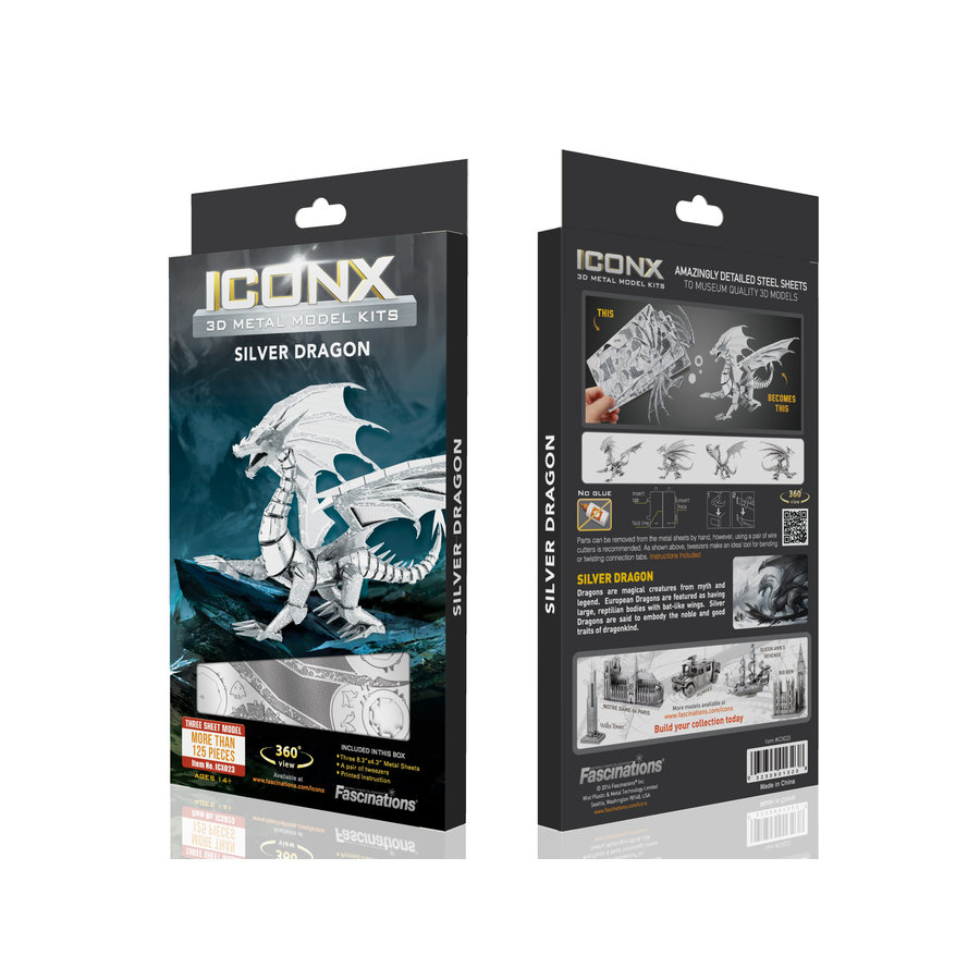 Silver Dragon - Iconx puzzle 3D-2