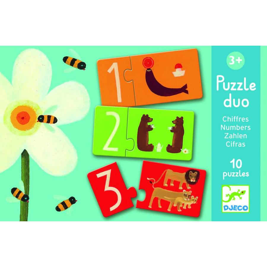 Puzzle duo - numbers - 10 puzzles of 2 pieces-1
