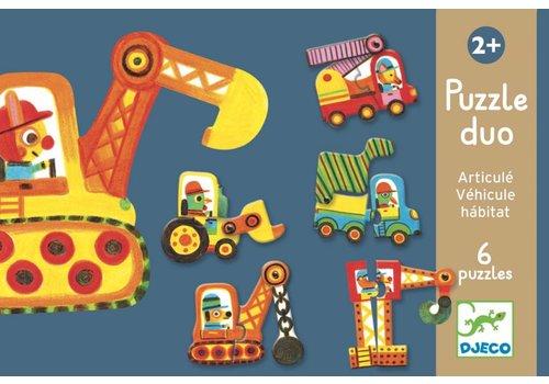 Puzzle duo - voitures en mouvement - 6 x 2 pièces