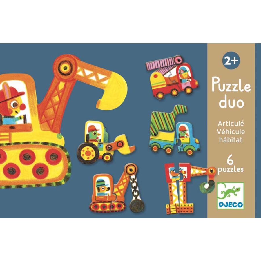 Puzzel duo - Bewegende auto's - 6 x 2 stukjes-1