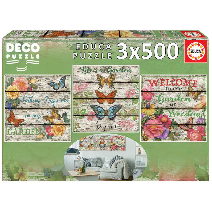 Vlinder tuin - Deco - 3 puzzels van 500 stukjes-2