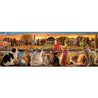 thumb-Chats sur le quai - puzzle de 1000 pièces - puzzle panoramic-1