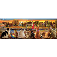 thumb-Katten op de kade  - legpuzzel van 1000 stukjes  - Panoramische puzzel-1