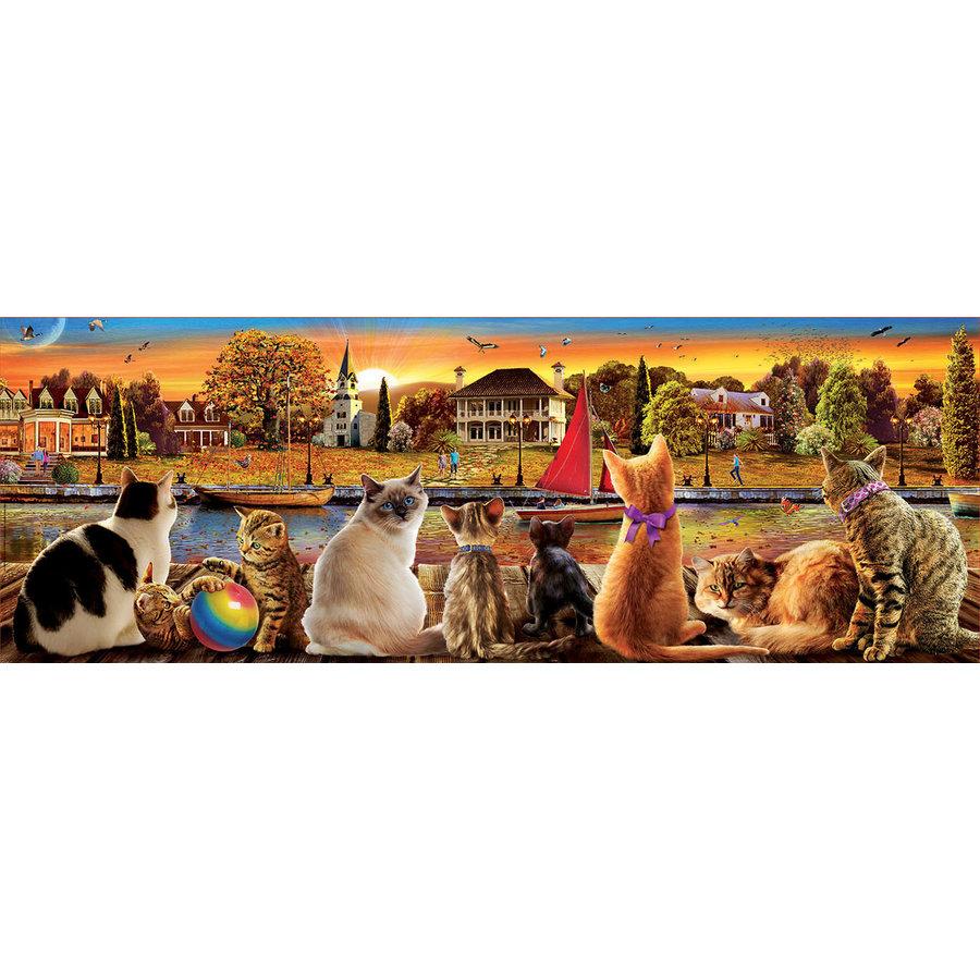 Katten op de kade  - legpuzzel van 1000 stukjes  - Panoramische puzzel-1