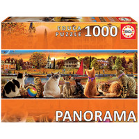 thumb-Chats sur le quai - puzzle de 1000 pièces - puzzle panoramic-2