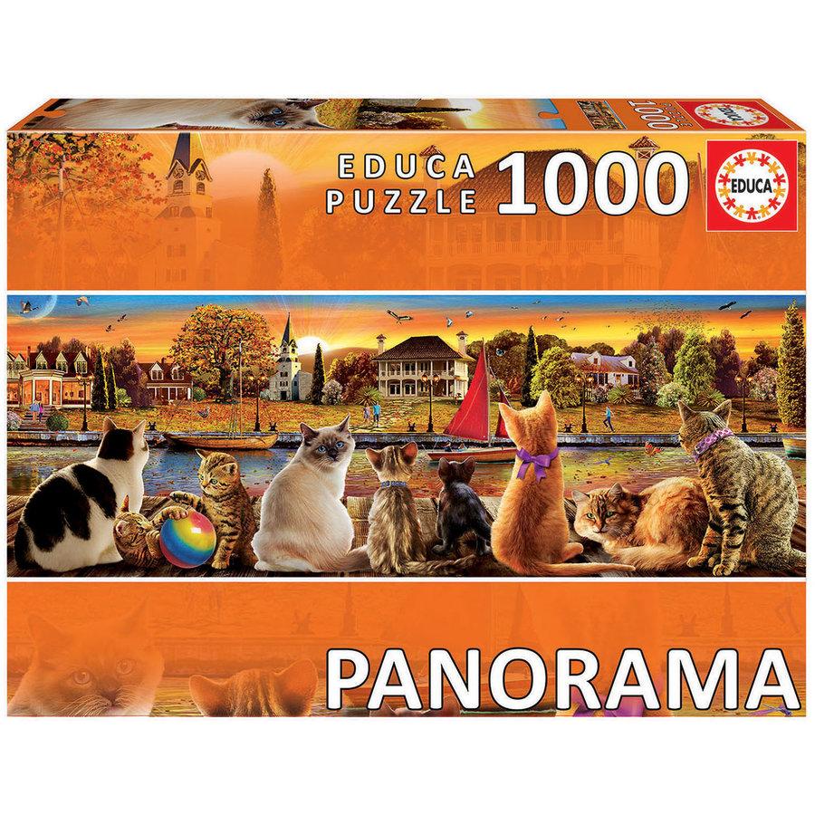 Chats sur le quai - puzzle de 1000 pièces - puzzle panoramic-2