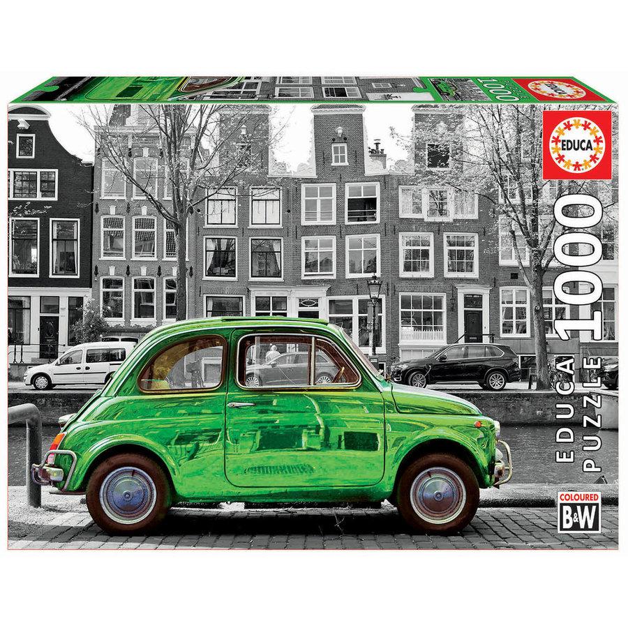 Auto in Amsterdam  - zwart/wit - legpuzzel van 1000 stukjes-2