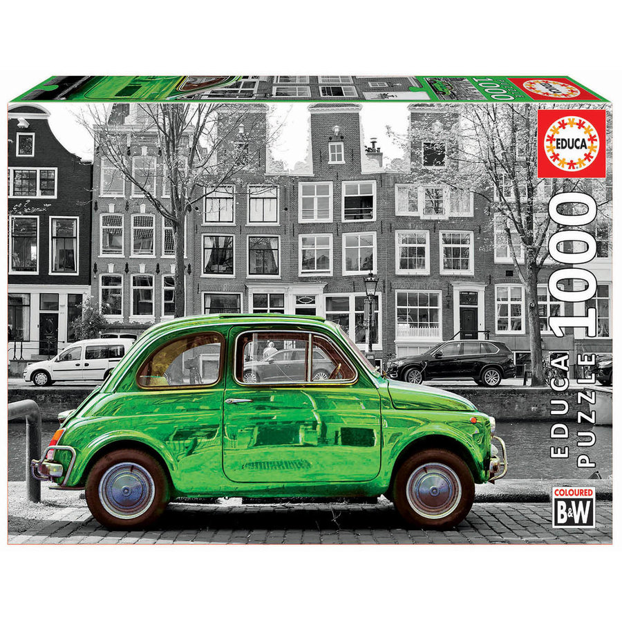 Car in Amsterdam - black/white - puzzle of 1000 pieces-2