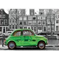 thumb-Voiture à Amsterdam - noir/blanc - puzzle de 1000 pièces-1