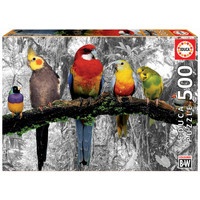 thumb-Birds on the jungle - black/white - puzzle of 500 pieces-1