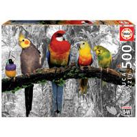 thumb-Vogels in de jungle  - zwart/wit - legpuzzel van 500 stukjes-1