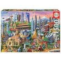 thumb-Symbolen van Azië - legpuzzel van 1500 stukjes-2
