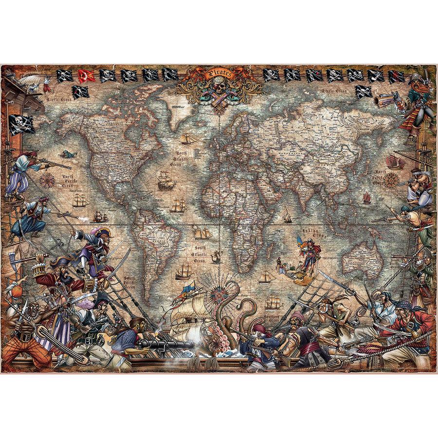 Wereldkaart van de Piraten - puzzel van 2000 stukjes-1