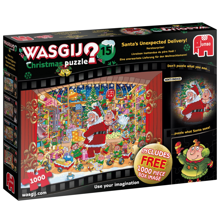 Wasgij Christmas 15 - Santa's unexpected delivery - 2 jigsaw puzzles of 1000 pieces-1