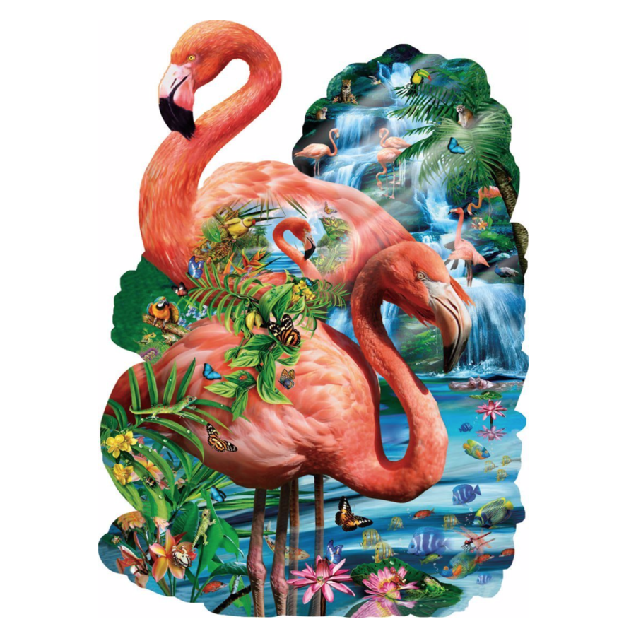 Flamingo vijver - legpuzzel van 1000 stukjes-1