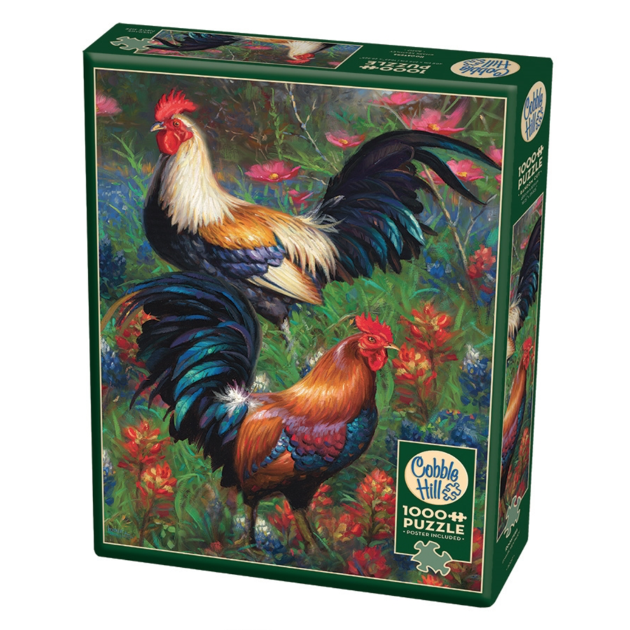 Roosters  - puzzle of 1000 pieces-2