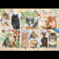 thumb-Poezen postzegels  - puzzel van 1000 stukjes-1