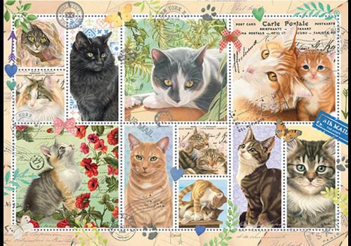 Poezen postzegels - 1000 stukjes