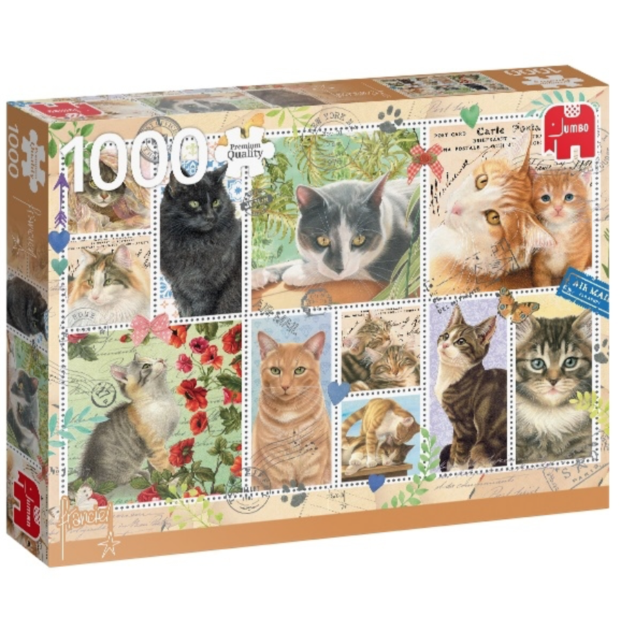 Cats Stamps - puzzle of 1000 pieces-2