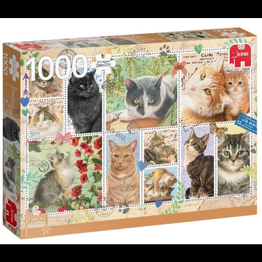 Poezen postzegels  - puzzel van 1000 stukjes-2