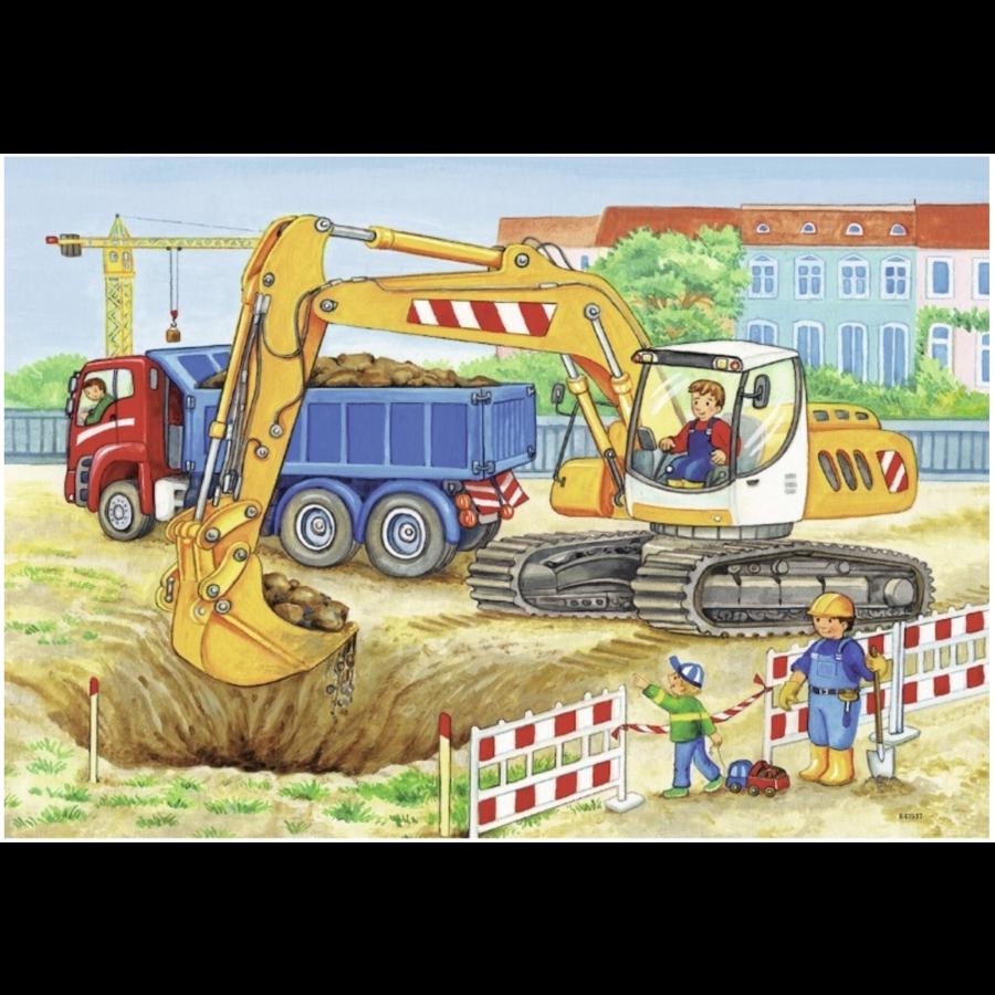 Op de bouwplaats en boerderij - 2 puzzels van 12 stukjes-2