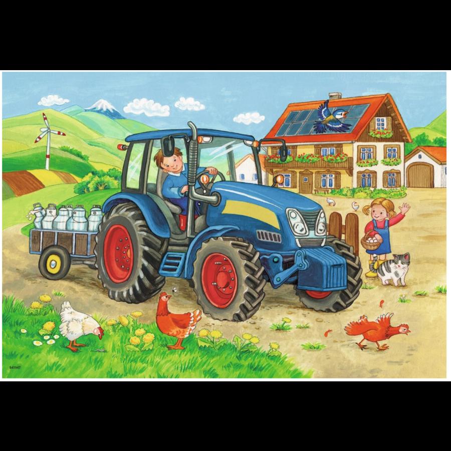 Op de bouwplaats en boerderij - 2 puzzels van 12 stukjes-3