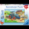 Ravensburger Op de bouwplaats en boerderij - 2 puzzels van 12 stukjes