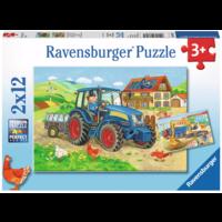 thumb-Op de bouwplaats en boerderij - 2 puzzels van 12 stukjes-1