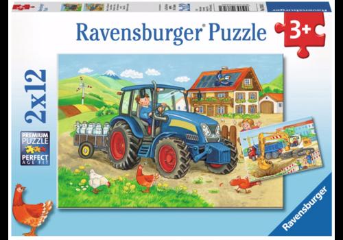 Ravensburger Op de bouwplaats en boerderij - 2 x 12 stukjes