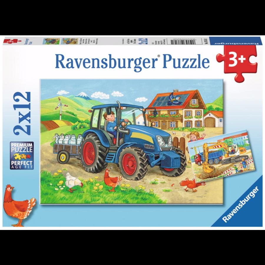 Op de bouwplaats en boerderij - 2 puzzels van 12 stukjes-1