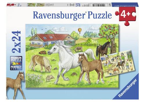 Ravensburger Op de manege - 2 x 24 stukjes