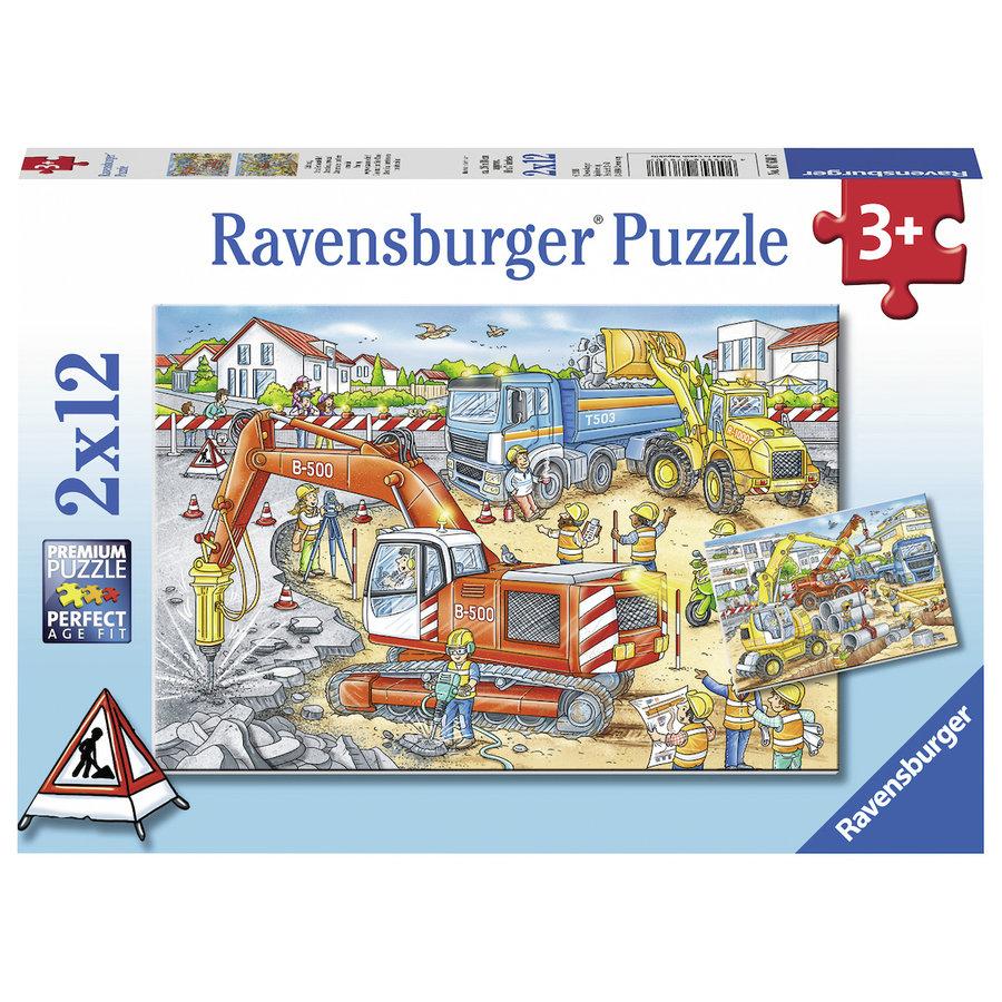 Pas op, wegwerkzaamheden - 2 puzzels van 12 stukjes-1